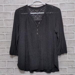 Lucky Brand Black Crochet Button 3/4 Sleeve Size S
